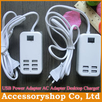Wholesale 15W W EU US Plug USB Power Adapter AC Adapter Desktop Charger amp m Line Ports Ports For iPhone S Galaxy S5 Tablet iPad Mini