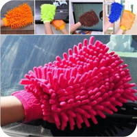 Brush 15.5 inch Antistatic 2014 Real Hot Fiber Chenille Gloves Clean Towel Wiping Cloth Cleaning Car Wash Free Shipping