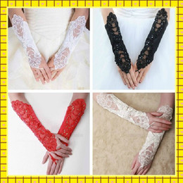 Wholesale 2015 Beaded Embroidery Gloves in Stock Elbow Length Pearls Fingerless Black Red Ivory White Bridal Gloves for Wedding Quinceanera Prom Dress