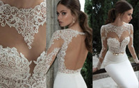 Trumpet/Mermaid Reference Images Jewel 2014 Sexy Hot Berta Bridal Mermaid Wedding Dresses Jewel Neck Poet Long Sleeve Illusion Sheer Appliques Lace Backless Formal Gowns