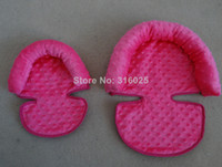 Wholesale baby headrest cover infant pillow cover hot pink dots minky