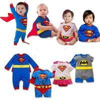 Unisex Summer Short Sleeve Superman Romper baby coveralls climbing clothes cartoon short-sleeved jumpsuit summer infant baby
