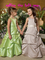 Wholesale Size taffeta sleeveless a line green girls fathers day dresses bustled pick ups skirt floor length flower girl dress custom made free