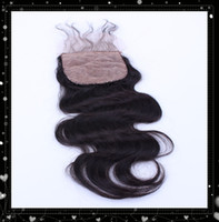 Brazilian Hair Natural Color Body Wave Silk Base Closure Free Part 6A Virgin 4X4 Body Wave hair Silk Base Closure Free Shipping