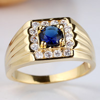 With Side Stones mens sapphire ring - New Elegant Mens Gold Filled Blue Sapphire S925 Sterling Silver Ring Size10 R116