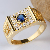 With Side Stones mens sapphire ring - Mens Round K Gold Filled Blue Sapphire S925 Sterling Silver Ring R125