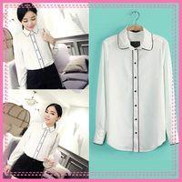 Polyester Women Button Free Shipping Women Summer Elegant Design Blouse Casual Chiffon Tops Vintage White Black Full Sleeve Ladies