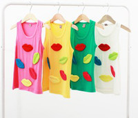 Girl Summer Standard 2014 Summer Children Girls Leisure Sleeveless Round Collar T-shirts Kids Sew Cute Candy Color Lip Tee Shirt Child Vest Knit Tops I0973