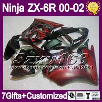 achat en gros de zx 636-7gifts Pour KAWASAKI NINJA ZX6R 00 01 02 ZX 6R 636 ZX-6R SZ730 flammes rouges ZX636 ZX-636 2000 2001 2002 Gratuit Personnalisé Carénage Kit rouge noir