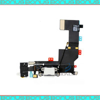 Wholesale 5pcs Charger Dock Coonector with Headphone Jack Flex cable for iPhone S Black and White
