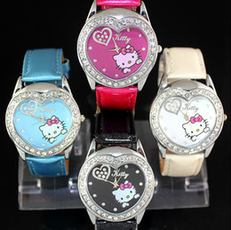Wholesale Factory Low Price promotion Hello KT Pink Cat cartoon watch children ladies fashion leather strap crystal watch