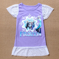 Wholesale Kids Clothes Hollow Lace Dress Frozen Short Sleeve Children Clothing Ice Snow Queen Elsa Anna Dresses Kid Cloth Child Dress