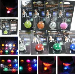 Pet Carrier Flashing LED Cat Collar Pendent Dog Flash Safety Night Light Tag Round Blinker Collar Free Shippig