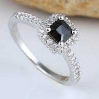 Wholesale New Women Square Wedding Band Black Onyx Solid Sterling Silver Ring R148