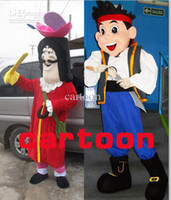 Mascot Costumes Unisex Free Size Hot sale 2014 fast shipping Jake & Hook (neverland pirates) Cartoon Mascot Costume for Adult Free Shipping