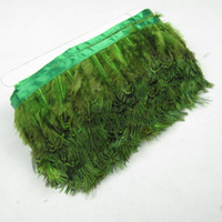 Wholesale Yard Green Dyed Pheasant Ribbon Feathers inches cm For Decoration JY2