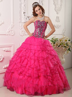 Wholesale Ball Gown Sweetheart Floor Length Lace up Back Red With Black Page Organza Quinceanera Dresses With Ruffle Beads