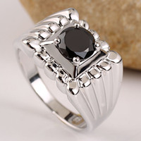 Solitaire Ring Men's Party Men's 925 Sterling Silver Finger Ring with Round Black Stone Gift Choice R501