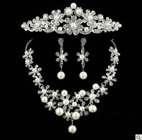 Wedding Hair Jewelry Women Alloy Wholesale - 2014 New Pearl Tiaras Exquisite Silver Plated Crystal Rhinestone Bridal Hair Jewelry Wedding Accessories 3pcs set