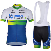 Wholesale Orica Green Edge Team Retro Cycling Jersey Set Lycra Polyester Jayco Team Logos High grade Pad Wicking Treatment Men Road Bike Bib Shorts