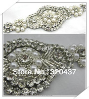 Wholesale 2014 new Diamond wedding sash veils sewn pearl applique beading trims crystal bride beaded trim pearl patches