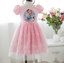 Wholesale New Arrival Frozen Baby Girl Princess Dress Cartoon Pink White Toddler Dresses Age Kids Dresses Frozen Children Clothing GX330