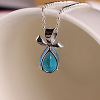 Wholesale 2014 Sterling Silver Necklace Chain Fashion Gemstone Pendant Necklace