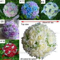 artificial flowers retail - 10 quot Wedding Bouquets colors heads of Artificial Silk Rose Flowers Bride Handheld White Purple Pink Coral Retail