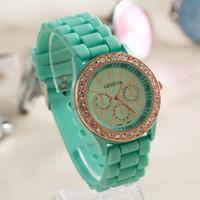Wholesale Colourful fanshion shadow style Geneva Crystal edge watch rubber silicion Candy jelly diamond border Unisex Quartz Wrist Watches Free DHL