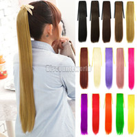 Wholesale Costume Straight Pony Tail Clip Hair Extensions Ponytail Wrap Around Hairpiece fx230