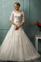 A-Line Reference Images Jewel Amelia Sposa 2014 Backless Wedding Dresses A-Line Sheer Crew Neckline 3 4 Long Sleeves Cathedral Train Bridal Gown With Sash