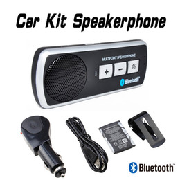 Free Shipping Universal Portable Car Kit Wireless Bluetooth Handsfree Speakerphone Loudspeaker with Car Charger for Mobile Cell Phone