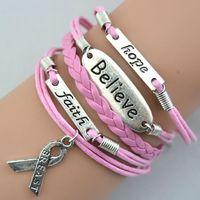 Charm Bracelets breast cancer awareness - Hot Retro Fashion Charms Believe Faith Hope Breast Cancer Awareness Bracelets Fashion Personality Bracelets Handmade Jewellery