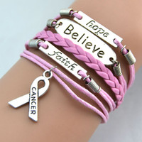 Charm Bracelets stainless steel rope - New Fashion Charms Believe Faith Hope Breast Cancer Awareness Bracelet Hot Retro Fashion Personality Bracelets Handmade Jewellery
