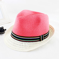 Wholesale Pink Straw Colorful Elastic Ribbon Favorable Fashion New Coming Summer Designer Sun Hats For Women