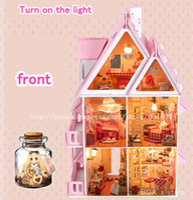 Wholesale Sunshine Alice DIY Doll house Handmade Wood Kid Toys Assembling Toy English instructions Dollhouse Gift