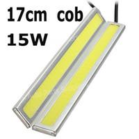 12V - - 2 X 12V Super Bright White 12W COB LED DRL Driving Daytime Running Lights lamp Aluminum Chip Bar Panel free shipping