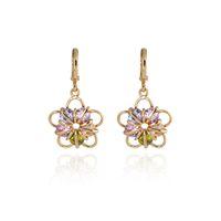 Other Women's Drop Earrings 2014 new elegant fashion design plated 18k Rose Gold Colorful CZ Diamond pendant flower Zircon earrings Drop jewelry for women