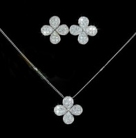 Wholesale Four Leaf Clover simulated diamond pendant necklace and Dangle earrings rose K gold plated jewelry sets new