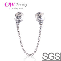 Wholesale Hearts Silver Safety Chain made of sterling silver fit European bracelets Snake Chain No SF201