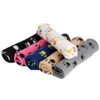 Wholesale 5pcs Lovely Design Paw Print Soft Warm Fleece Pet Blanket Dog Cat Mat Puppy Bed Sofa Cushion Cover Cozy Towel cm