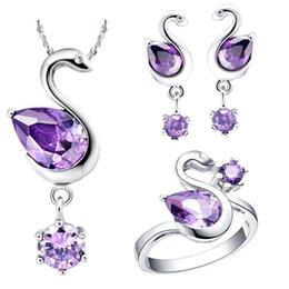 Wholesale Cubic zircon crystal purple necklace pendant ring earrings stud earring cubic zircon set Sterling Silver Swan Jewelry Set
