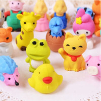 >3 years Design Fantastic Lovely Cartoon Animals Pencil Eraser Cute Rubber Correction Erasers Student Stationery School Supplies Kids Gift Promotion 23pcs lot SH593