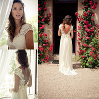 A-Line Reference Images V-Neck Boho Chic 2014 Lace Beach Wedding Dresses V-Neck Cap Sleeves Backless Satin Sash A-Line Chiffon Skirt Floor-Length White Ivory Bridal Gowns