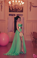 Green strapless sweetheart side slit A line long prom dresse...