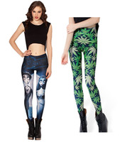 Wholesale 2 New Leggings Women Ladies Green Leaf marijuana cannabis print Pants Hot selling CW07107 CW07116 M