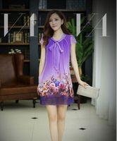 Casual Dresses Round Knee Length NEW ARRIVAL Korean fashion women long maxi Chiffon dresses boho silk Floral dress beach skirt Casual Dresses Plus Size Y403
