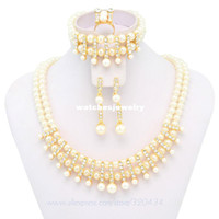 Bracelet,Earrings & Necklace Women's Party Wholesale-Free Shipping!!!Hot Sale 2014 Pink&White Mysterious Fashion High Quality Pearl Jewelry Set,Costume Wedding Bridal Jewelry