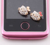 Wholesale New Arrival Crystal Cat Home Button Keypad Sticker Key Post for iPhone S S for iPad ZO47