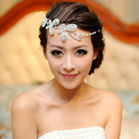 Wedding Hair Jewelry   Wholesale - 2014 New Exquisite Crystal Butterfly Headpieces Silver Plated Full Austrian Crystal Butterfly Hair Jewelry Wedding Accessories